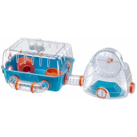 Ferplast COMBI 2 Cage compacte pour hamsters avec aire de jeux Gym. Variante COMBI 2 - Mesures: 79,5 x 29,5 x h 26,3 cm - Bleu - Bleu