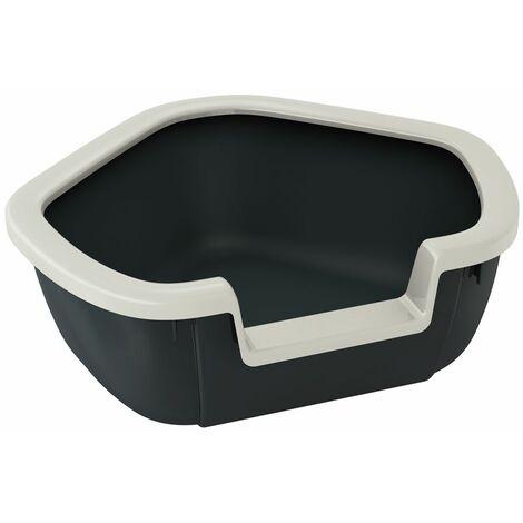 Ferplast DAMA Maisonnette hygiénique ouverte, d'angle pour chats. Variante DAMA - Mesures: 57,5 x 51,5 x h 22 cm - Noir - Noir