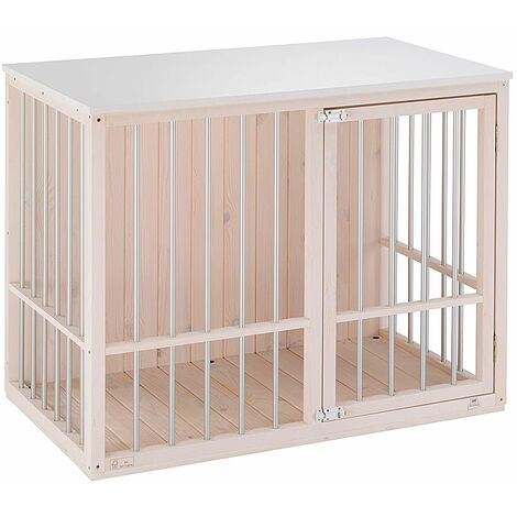 Ferplast DOG FORT Niche d'intérieur pour chiens en bois écologique avec barres en aluminium. Variante DOG FORT - Mesures: 100,5 x 59 x h 82,5 cm - Blanc