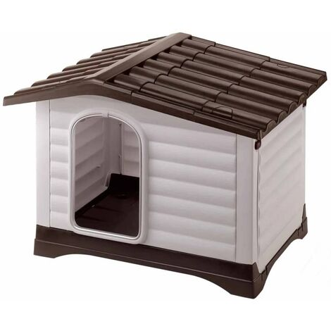 Ferplast Doghouse Villa 70/90 Grey Comfortable Cat Dog Animal Kennel House Shelter Habitat Shed Home Indoor Outdoor 73x59x53/88x72x65 cm