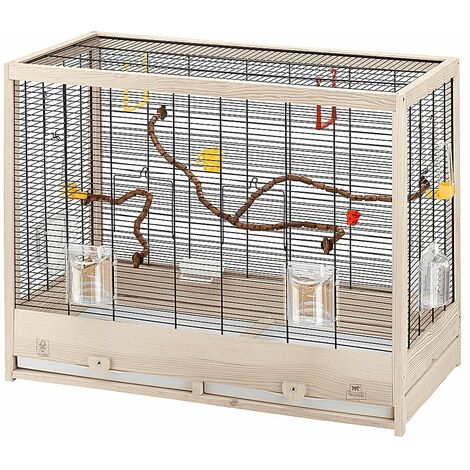 Ferplast GIULIETTA 6 Cage en bois écologique pour canaris et oiseaux exotiques. Variante GIULIETTA 6 - Mesures: 81 x 41 x h 64 cm -