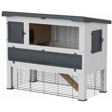 Ferplast GRAND LODGE Clapier à lapins en résine thermoplastique à deux étages. Variante 140 - Mesures: 134 x 73 x h 110 cm - Gris - Gris