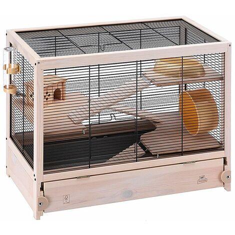Ferplast HAMSTERVILLE Cage en bois FSC pour hamsters et souris. Variante HAMSTERVILLE - Mesures: 60 x 34 x h 49 cm -