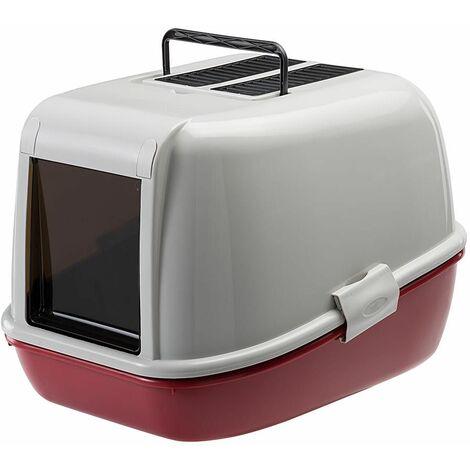 Ferplast MAGIX Maison de toilette pour chats avec bac doté d'un tamis. Variante MAGIX - Mesures: 45,5 x 55,5 x h 39 cm - Bordeaux - Bordeaux