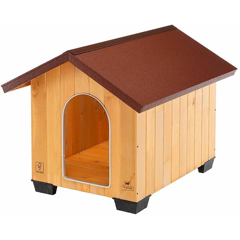 Ferplast DOMUS Niche pour chiens en bois FSC - 6 tailles. Variante LARGE - Mesures: 81 x 101 x h 78 cm -