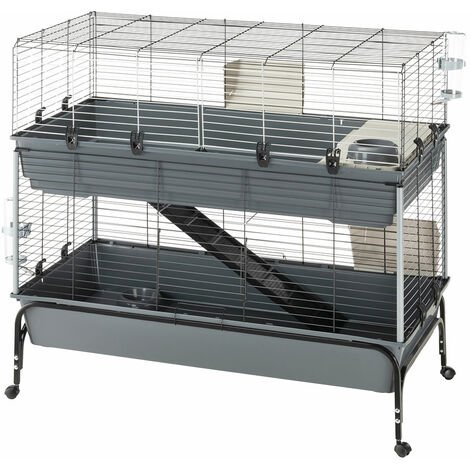 Ferplast RABBIT 120 DOUBLE Cage à lapin à deux étages, support inclus. Variante RABBIT 120 DOUBLE - Mesures: 118 x 58 x h 117 cm -
