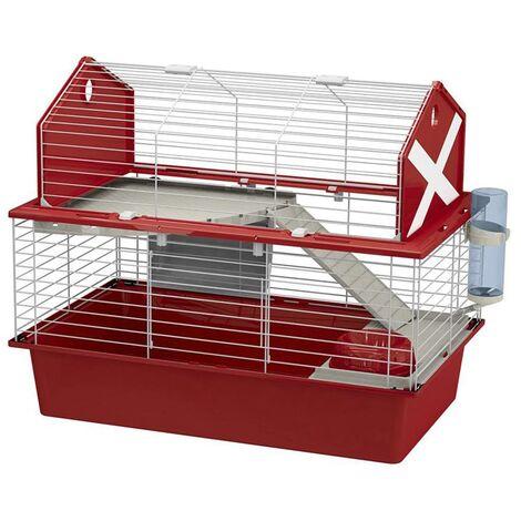 Ferplast Rabbit Cage Barn 80 78x48x65 cm Red - Red