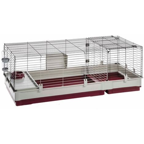 Ferplast Rabbit Cage Krolik 140/140 Plus/160 Small Animal House Hutch Rodent Cage with Food Bowl Water Bottle Indoor 142/162x60x50 cm