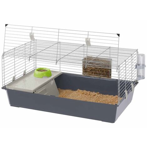 Ferplast Rabbit Cage Rabbit 100/120 Rabbit Hutch House Small Animal Guinea Pig Indoor with Water Bottle Food Bowl 95x57x46/118x58.5x49.5 cm