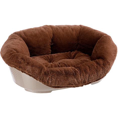 Ferplast Sofà Soft Panier pour chiens et chats en résine thermoplastique avec revêtement en fourrure écologique. Tailles variées.