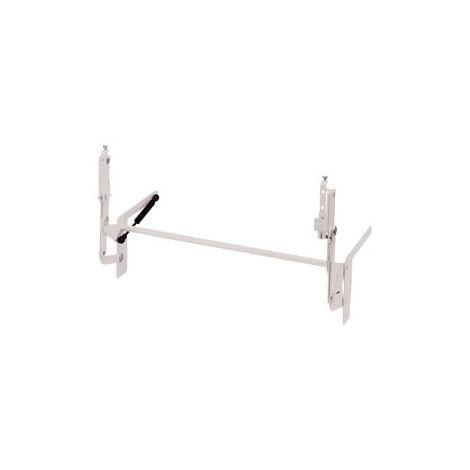 Ferrure parallele à relevage vertical avec ressort à pression de gaz - Décor : Blanc époxy - Largeur hors tout du corps de meuble : 561 mm - Charge : 3,5 kg - HETTICH