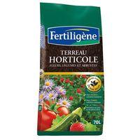 FERTILIGENE - Terreau horticole fleurs, légumes, arbustes - 70L
