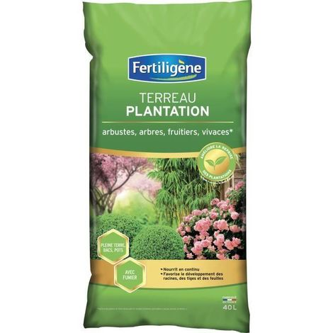 FERTILIGENE Terreau Plantation Arbustes a Fleurs. Coniferes - 40 L