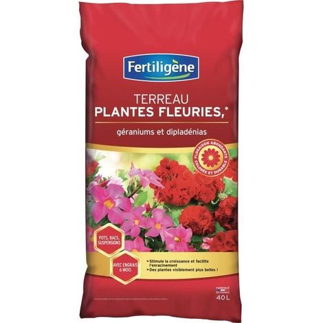 FERTILIGENE Terreau Plantes Fleuries et Geraniums - 40 L
