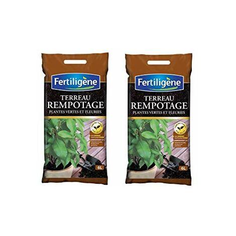FERTILIGENE Terreau rempotage Plantes Vertes et Fleuries lot 2 Sacs 6l FPV6