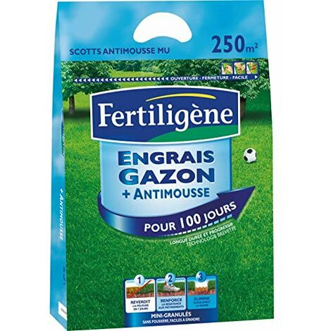 FERTLIGENE Engrais Gazon+Anti-Mousse 10kg élimine durablement Les mousses MOU250