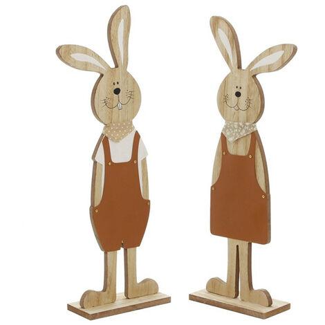 Festival de estatuillas de madera de Navidad Estatua de forma de conejo de Pascua, escultura de jardin