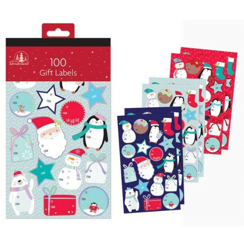 Image of Wonderland Christmas Gift Labels (Pack of 100) (Pack of 100) (Multicoloured) - Festive
