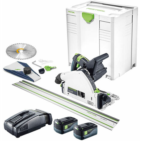 Festool 18V TSC 55 Plunge Saw with 2 x 5.2As Batteries Charger & Rail in SYS-5