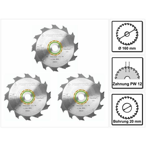 Festool 3x Panther Lames de scie circulaire HW 160x2,2x20 PW12 160 mm 12 Dents ( 3x 496301 )