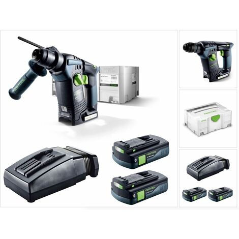 Festool BHC 18 Li 3,1 I-Compact Perforateur sans fil 18 V Brushless SDS-Plus + Systainer + 2 x Batteries 3,1 Ah + Chargeur ( 575700 )