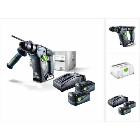 Festool BHC 18 Li Plus Perforateur sans fil SDS-Plus avec boîtier Systainer inclus 2x BP 5,2 Ah Batterie + TCL 6 Chargeur ( 574720 )