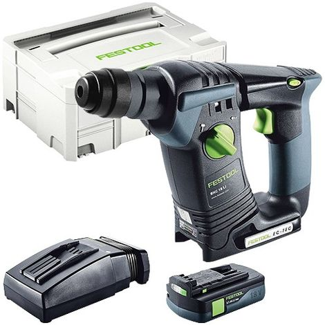 Festool BHC 18 SDS Plus 18V Hammer Drill With 1 x 3.1As Battery & TCL Charger in Systainer Case