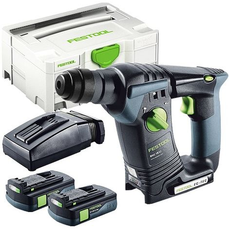 Festool BHC 18 SDS Plus 18V Hammer Drill With 2 x 3.1As Batteries & TCL Charger in Systainer Case