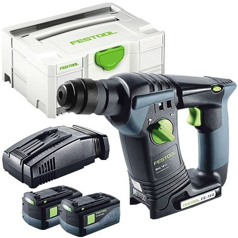 Festool BHC 18 SDS Plus 18v Hammer Drill With 2 x 5.2As Batteries & SCA Charger in Systainer Case