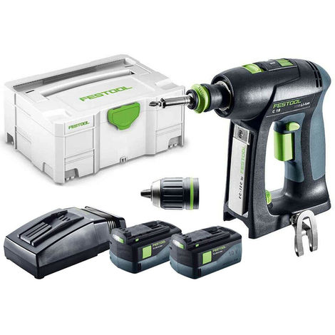 Festool C 18 Li 5,2-Plus 18v Drill Driver 2 x 5.2As Batteries & TCL Charger in SYS-2 574740