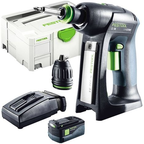 Festool C 18 Li-Basic 18v Drill Driver 1x5.2As TCL Charger in SYS-2