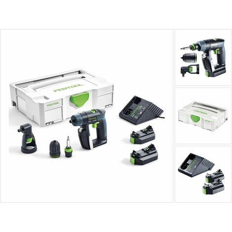 Festool CXS Li 2,6 Plus Akku Bohrschrauber 10,8V 16Nm ( 564532 ) + Winkelvorsatz + 2x Akku 2,6Ah + Ladegerät + Systainer