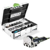 Festool DF 500 Q-PLUS Fraiseuse Domino 420 W avec boÎtier Systainer + ButÊe de report QA-DF 500 / 700 + ButÊe pour bois LA-DF 500 / 700 + Système d'assemblage DOMINO KV-SYS D8 avec boÎtier SYSTAINER