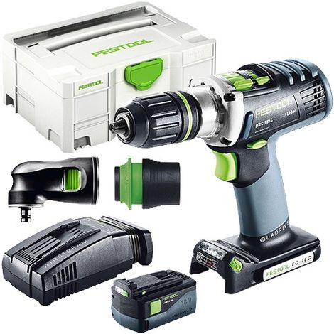 Festool DRC 18/4 18V Drill Driver With 1 x 5.2As Battery & SCA Charger + Attachment in Case