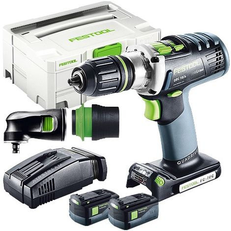 Festool DRC 18/4 18V Drill Driver With 2 x 5.2As Batteries & SCA Charger + Attachment in Case