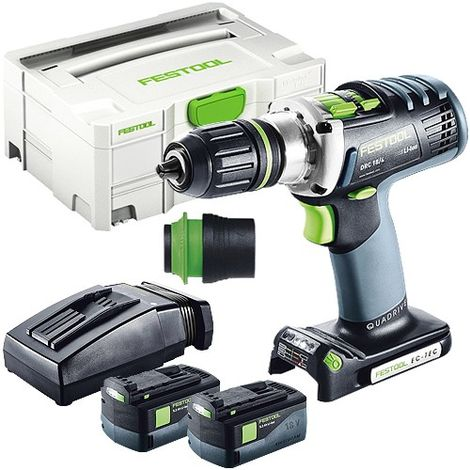 Festool DRC 18/4 18V Drill Driver With 2 x 5.2As Batteries & TCL Charger in Systainer Case