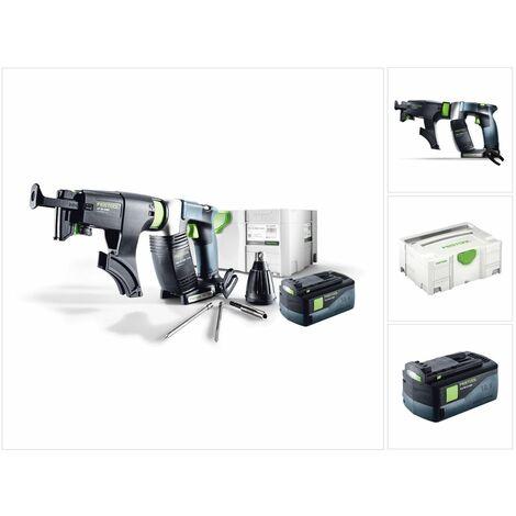Festool DWC 18-2500 Li Basic Visseuse sans fil pour plaquistes ( 574742 ) avec boîtier Systainer + Chargeur de vis + 1x Batterie BPC 18 Volt 5,2 Ah Li-lon