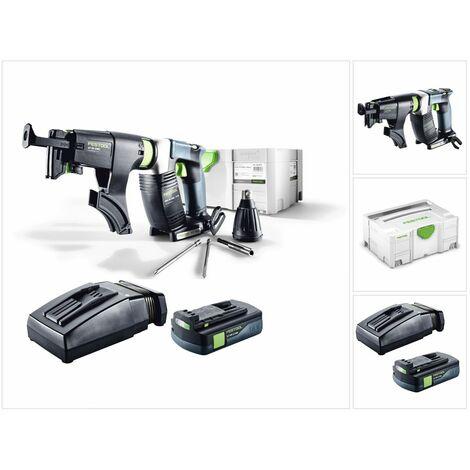 Festool DWC 18-2500 Li Basic Visseuse sans fil pour plaquistes avec boîtier Systainer + Chargeur de vis + 1x Batterie BP 18 Li 3,1 Ah + Chargeur rapide TCL 6 Li-Ion