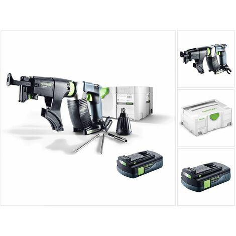 Festool DWC 18-2500 Li Basic Visseuse sans fil pour plaquistes avec boîtier Systainer + Chargeur de vis + 1x Batterie BP 18 Li 3,1Ah