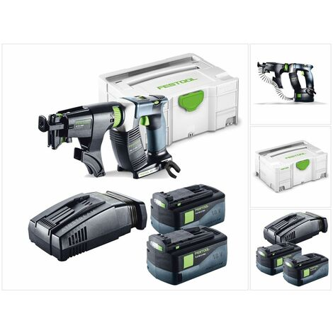 Festool DWC 18-4500 Duradrive Li Basic Visseuse sans fil pour plaquiste avec boîtier Systainer + Chargeur de vis + 2x Batteries BP 18 Li 5,2 AS Li-lon + Chargeur SCA 8