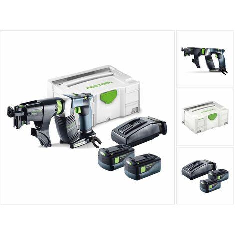 Festool DWC 18-4500 Li 5,2-Plus Atornillador de construcción en seco a batería DURADRIVE en Systainer + 2x Batería BP 18 Li 5,2 AS + Cargador TCL 6 ( 574745 )