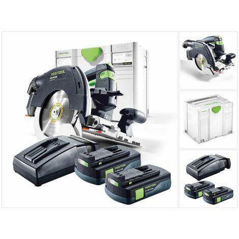 Festool HKC 55 Li EB Basic Scie circulaire sans fil avec boîtier Systainer + 2x Batteries BP 18 Li 3,1 C + Chargeur rapide TCL 6
