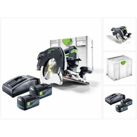Festool HKC 55 Li EB Plus Scie circulaire sans fil avec boîtier Systainer inclus 2x Batterie BP 5,2 Ah & Chargeur TCL 6 ( 201360 )