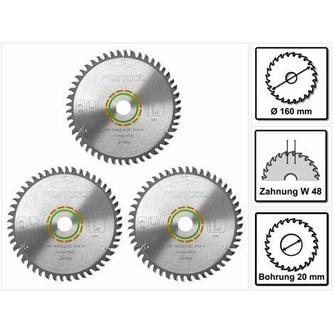 Festool HW Lames de scie denture fine 160 x 20 x 2,2 mm W48 160 mm - 48 Dents ( 3 x 491952 )