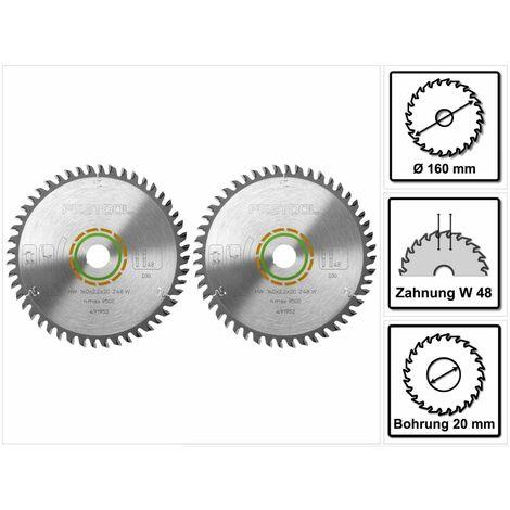 Festool HW Lames de scie denture fine 160 x 20 x 2,2 mm W48 160 mm - 48 Dents ( 491952 )