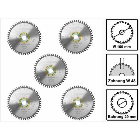 Festool HW Lames de scie denture fine 160 x 20 x 2,2 mm W48 160 mm - 48 Dents ( 5 x 491952 )