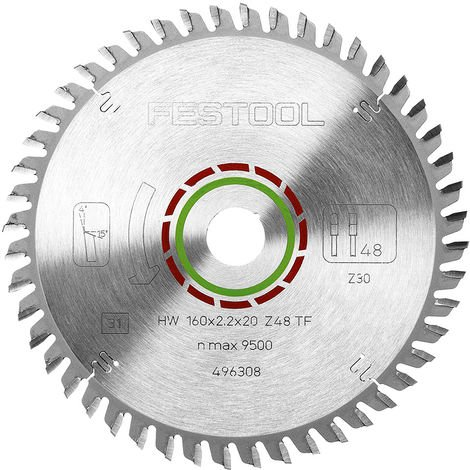 Festool Laminate Corian Saw Blade 160 x 20mm 48T TF48 for TS55 496308