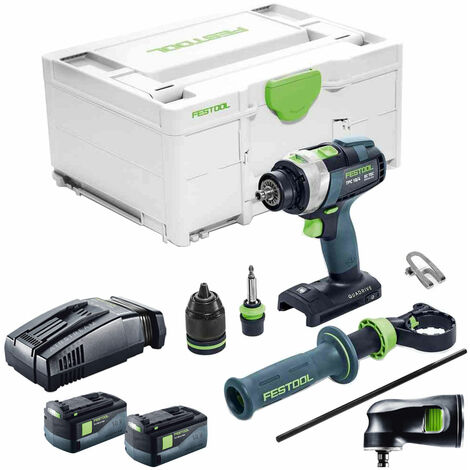 Festool PDC 18/4 18V Drill with 2 x 5.2As Battery & SCA Charger + Attachment in SYS-2 574706