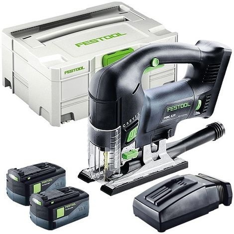 Festool PSBC 420 18V Pendulum Jigsaw with 2 x 5.2Ah Batteries & Rapid Charger in SYS-2