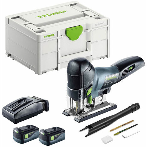Festool PSC 420 18V Carvex Pendulum Jigsaw with 2 x 5.2Ah Batteries & TLC Rapid Charger in SYS-2